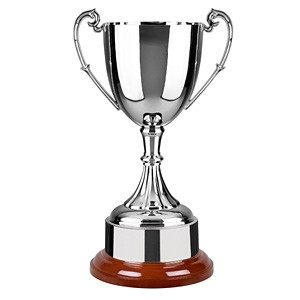Nickel Plated Cup on wooden base. 6 sizes available
