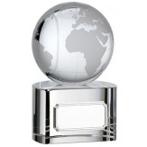 Optic Glass Crystal Clear Globe Award With Base 3 Sizes available